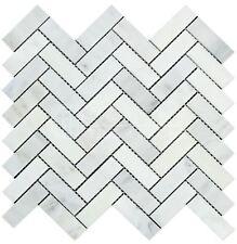 Carrara White Italian (Bianco Carrara) Marble 1 X 3 Herringbone Mosaic Tile