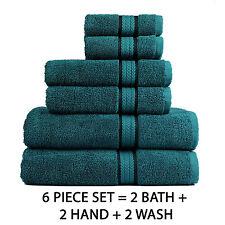 Luxury Cotton Towel Set Washcloth Bath Hand Wash Cloth Soft Absorbent Pack of 6