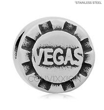 STAINLESS Steel European Charm Bead Poker Chip Casino Vacation Las Vegas Hotel