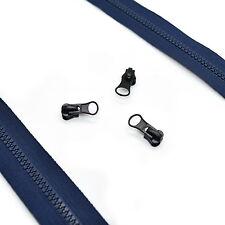 Plastic Chunky Zip No 5 Continuous Zipper Tape ✄ Navy Blue Zip + Black Sliders ✄