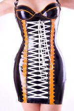 Látex Vestido de goma con cierre con cordones Rubber mini Dress