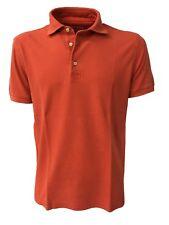 DELLA CIANA polo uomo mezza manica arancio 100% cotone vestibilità slim