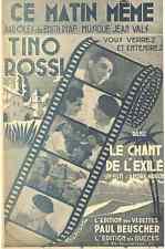 CE MATIN MEME BY TINO ROSSI  1943  SHEET MUSIC  FREE SHIPPING