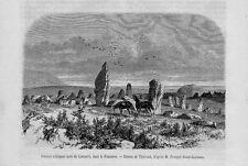 Stampa antica Old Print CAMARET-SUR-MER Pietre Celtiche Celti Bretagna 1860