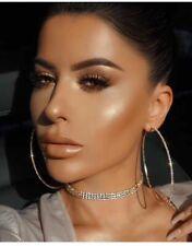 luxury women Big Circle Rhinestone Crystal Dangle drop Stud Fashion gold earings