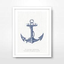 SHIP ANCHOR ILLUSTRATION SEASIDE NAUTICAL ART PRINT Blue A4A3A2 Decor A4A3A2