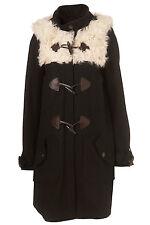 9New gorgeous TOPSHOP sheepskin swing duffle coat UK 16 in Black