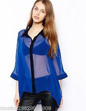 Jarlo Blau Lace Kimono Top Shirt Bluse Gr. UK 8-14