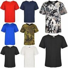 Kids Boys Designer 100% Cotton Plain T-Shirt Tee Ringspun T Shirts New Age 2-13Y
