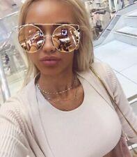 OVERSIZED Technologic Women Sunglasses Metal Frames Big Round Glasses XXL