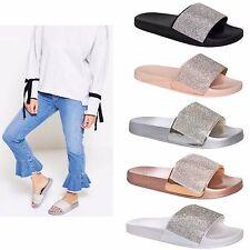 Womens Ladies Slip On Sparkly Diamante Bling Sliders Black Silver Summer Sandals