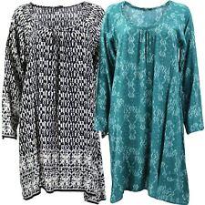 HIPPIE TUNIC DRESS PRINT TOP BOHO ETHNIC STYLE 2 Colours & Sizes