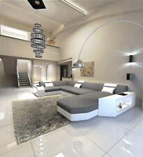Fabric Sofa Presto U-Shaped Light Grey Corner Designer Led Lighting Ottoman