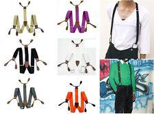 Unisex Suspenders Adjustable Elastic Braces Leather Button Hole Solid Color BD7H