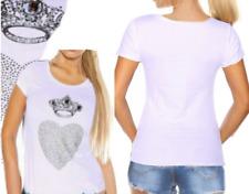 Sexy señora manga corta t shirt top S/M 34/36 L/XL 38/40 corona pedrería corazón blanco nuevo