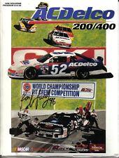 1996 (Oct. 19-20) AC-Delco 200/400 NASCAR program Ron Barfield autograph