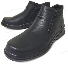 Men's Winter Boots Fur Lined Both Side Zipper Warm Ankle Black Snow Shoes, Sizes