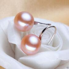 Genuine Natural 11-12mm Pink Akoya Freshwater Pearl Silver Hook Dangle Earrings