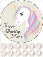 "EDIBLE ROUND 7,5"" UNICORN BIRTHDAY CAKE TOPPER AND 12 CUPCAKES"
