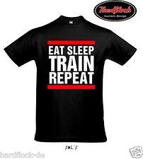 T-Shirt Eat Sleep Train T-Shirt Bodybuilding Fitness Kraftsport Training Pumpen