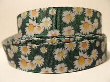 "Grosgrain Ribbon, Wild Daises in Field, White Daisy Flowers, Nature Ribbon, 7/8"""