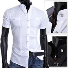 D&R Mens Summer Shirt Short Sleeve Black White Grandad Cotton Collar Slim Fit UK