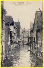 CPA normandy 27-river bridge lapin risle rue thiers houses wooden pan