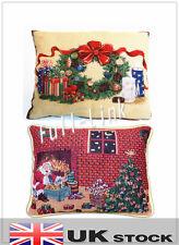 Natale Xmas Federa Copricuscino Regalo Babbo Natale Cotone Divano Di Casa Decalcomania UK