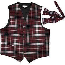 New Men's Plaid Tuxedo Vest Waistcoat Free Style Self Tie Bowtie Burgundy Prom