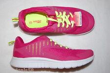 Girls LIGHT WEIGHT RUNNING SHOES Tennis Athletic DARK PINK Neon Yellow 1 3 4 5 6