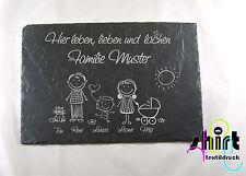 S 110 - Schiefertafel Hier leben Familie Schiefer Türschild Name Haustürschild