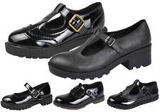 Kids Girls Chunky Block Heel Platforms T Bar School Smart Party Shoes Size