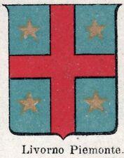 Stemma del Comune di LIVORNO FERRARIS. Cromolitografia. Vercelli. Piemonte. 1901