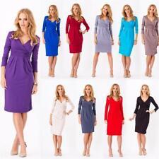 Kleid Tunika Mini Kleid überlappender V-Ausschnitt Gr. 36 38 40 42 44 46, 6801