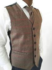 Homme Mélange Laine Tweed Marron Carreaux Herringbone Gilet Gilet-Tailles S-XXL