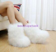 Ostrich fur Women Winter Long Boot Eskimo Hair Fluffy Boots Sexy Furry Boots New
