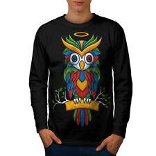 Bright Colorful Owl Men Long Sleeve T-shirt NEW | Wellcoda