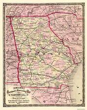 Old State Map - Georgia - Cram 1875 - 23 x 29.06
