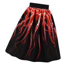 Women High Elastic Waist Print Pleated Knee length A-line Swing Skirt,S-4XL