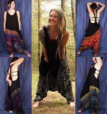 Black Tie Dye Harem Dungarees Hippie Bohemian Baggy Jumpsuit New by Bare Canvas