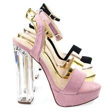 1162bd89cec Snyder1 Perspex Block High Heel Platform Dress Sandal w Adjustable Ankle  Strap