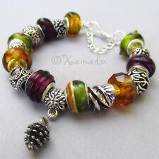 Autumn Leaves European Charm Bracelet With Silver Pine Cone Charm Pendant