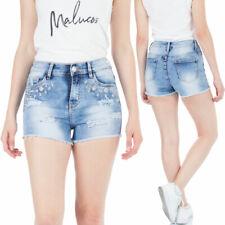 Malucas Damen High Waist Jeans Hotpants Kurze Hose mit Spitze Bermuda Stretch