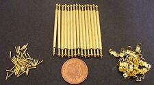 1:12 Set Of 15 Brass Stair Carpet Rods & 30 Holders Dolls House Miniature DIY