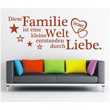 Wandtattoo Spruch  Familie ist eine Welt Liebe Sticker Wandaufkleber Wanddeko