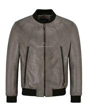 Mens Bomber Leather Jacket Mink Casual Tops Real Leather Harrington Jacket NV125
