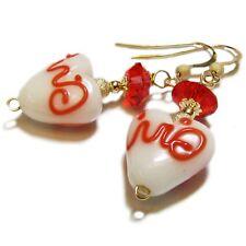 Sassy White Lampwork Glass Heart Valentine Earrings By SoniaMcD