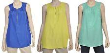 Michael Kors Zip Front Sleeveless Shirt Blouse Tunic Top Mint/Aqua/Blue Nwt $89