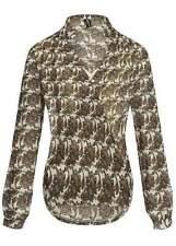 50% OFF B15070011 Damen Madonna Bluse Lang doppellagig Paisley Knopf weißbraun