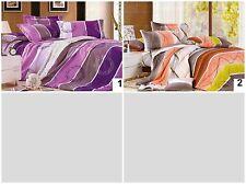 Striped Bedding Set 4pcs Duvet Cover Flat Sheet Pillow Case Single King S King